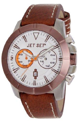 Jet Set J633BR-136–Vienna–Watch Men–Quartz–Chronograph–White Dial–Brown Leather Bracelet
