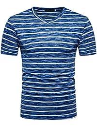 Yvelands T-Shirt Hombres con Cuello en V Casual Hole V-Neck Pullover Rayas Camisa de Manga Corta Tank Top Dress Vacaciones de Verano de Boda, Liquidación