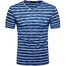 Yvelands T-Shirt Hombres con Cuello en V Casual Hole V-Neck Pullover Rayas
