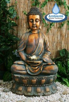 floristikvergleich.de Buddha Brunnen mit Beleuchtung und drehender Kugel