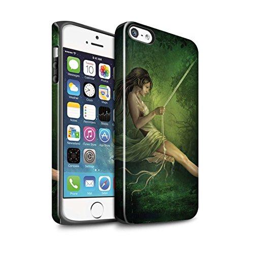 Officiel Elena Dudina Coque / Brillant Robuste Antichoc Etui pour Apple iPhone SE / Masque d'Hiver Design / Un avec la Nature Collection Balançoire Étang