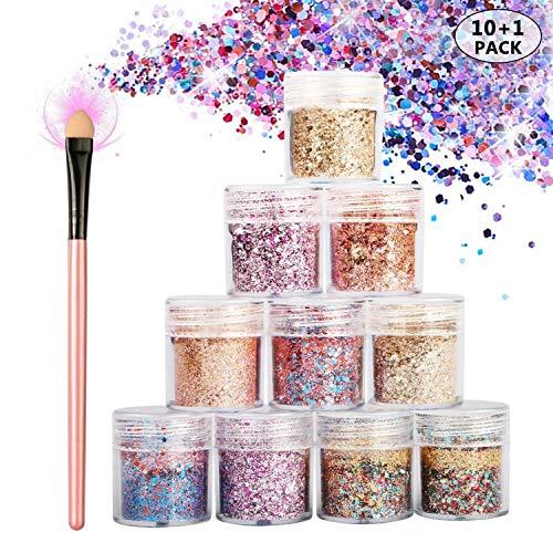 WisFox Chunky Glitter Set, Glitzer Sequin, Glitter Nagel für Festival Funkelnde Kosmetik Gesicht Körper Haar Nägel, Lidschatten, Make-Up, DIY und Handwerk, 10 Sätze (5 Farben) und 1 Pinsel