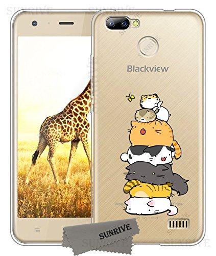 Sunrive Für Blackview A7 PRO Hülle Silikon, Transparent Handyhülle Schutzhülle Etui Case Backcover für Blackview A7 PRO(TPU Katze 3)+Gratis Universal Eingabestift