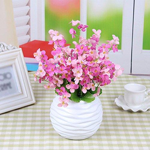 GBHNJ Artificial Flower GBHNJ Faux Fleurs Cadeau Table Basse Gala Simulation Plantes En Pot Decoration Plant Europe Style Fleurs En Soie Rouge Rose