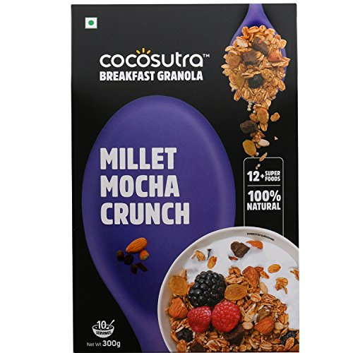 COCOSUTRA Granola – Millet Mocha Crunch, Breakfast Cereal with Oats, Nuts, Seeds and Dry Fruits (300gm)