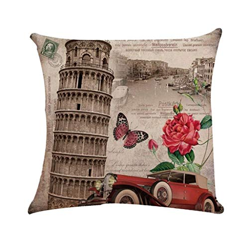YEARNLY Leinen Zierkissenbezüge Mix Sofa Vintage deko Blumen Kissenbezug Quadrat Kopf Shabby chic Vintage deko 45 * 45cm