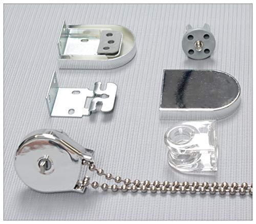 EFIXS Montageset für Rollos mit 25mm Rollowelle - Farbe: Silber - mit Metallkette - Länge der Endloskette (Bedienlänge): ca. 100cm