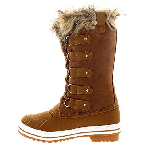 Damen Pelz Cuff Schnüren Gummisohle Tall Winter Schnee Regen Schuh Stiefel Tan Wildleder