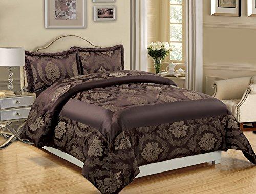 3 pièces en jacquard Couvre-lit matelassé Doudou, couvertures d'oreiller, Parure de lit de luxe + Free P & P, Jacquard, Angela Chocolate, King