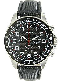 Aristo 45mm Aviator Estilo cuarzo reloj cronógrafo con esfera de fibra de carbono 4h158