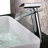 'Monobloc Cristal lavabo grifos alta grifo con efecto de cascada monomando grifo grifo para baño baño accesorio de lavabo (latón, cromo, Estándar Conector 3/8,27.5cm