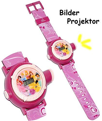 alles-meine.de GmbH Armbanduhr - LED Licht Projektion -  Disney Princess - Prinzessin  - als Projektor Kinderuhr DIGITAL / Lernuhr - für Mädchen Digitaluhr - Uhr Kinder - Quarz..