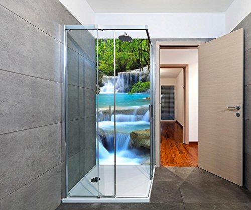 wandmotiv24 Duschrückwand Wasserfall im Wald Duschwand Design 90 x 200cm (B x H) - Aluminium 3mm, Fugen