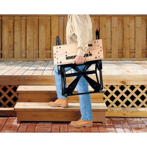 Black+Decker flexible Werkbank WM536 mit großer Arbeitsfläche / Höhenverstellbar und einfach handzuhaben / Bis 160 kg belastbar / Maße (Arbeitsfläche): 25,0 x 61,0 cm - 3