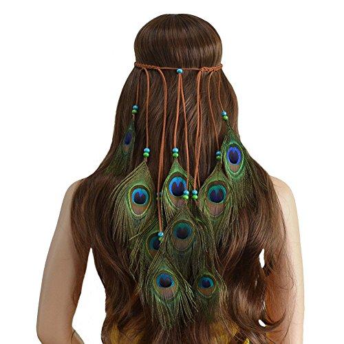 Ssowun Stirnband Bohemien,Haarbänder Federn Indianer Kopfschmuck Hippie Indisch Haarband Haarschmuck für Party Strand Fotografie EINWEG Verpackung