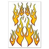 Racing Aufkleber 'Fire Flames' Feuer Flammen Sticker Set - 12 Aufkleber auf DIN A4 Bogen
