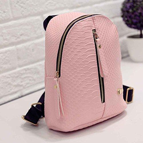 Imagen de  de cuero para mujer bolsas de escuela para adolescentes bolsa de viaje bolsa de hombro lmmvp 24cm*20cm*10cm, rosado  alternativa