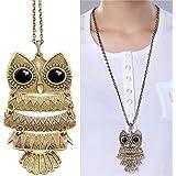 Liroyal Art deco owl vintage retro Long necklace jewellery pendant