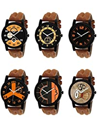 NEUTRON Treading 3D Design Damru Black Blue And Brown Color 6 Watch Combo (B13-B14-B15-B16-B17-B25) For Boys And...