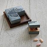 Regali di Natale, organizzatore di scatola di immagazzinaggio della pillola della medicina fatta a mano di legno con il vassoio dell'intarsio Accessori di cura personale (multicolore)