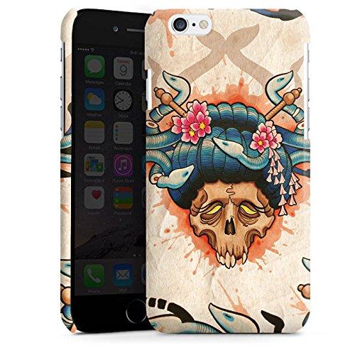 Apple iPhone 6 Housse Étui Silicone Coque Protection Tatouage Tête de mort Crâne Cas Premium brillant