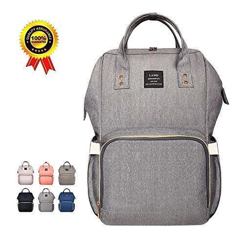 Preisvergleich Produktbild HEYI Baby Wickeltasche Reise RucksackIsolierte Tasche, Wasserdicht Stoffe, Multifunktional, Passform für Kinderwage, Große Kapazität Modern Einzigartig Tragbar Handtasche Organizer (Leinen grau)