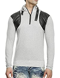 Tees Collection Men's Leather Flap Dragon Neck Grey Color Full Sleeve T-shirt