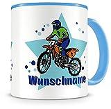 Samunshi Kinder-Tasse mit Namen und einem MotoX Motorrad Fahrer als Motive Kaffeetasse Teetasse...