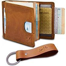 LionsMen - Kreditkartenetui mit Geldklammer Herren Leder - 100% Rindsleder - Slim Wallet ohne Münzfach - Rfid Schutz - (verschiedene Farben)