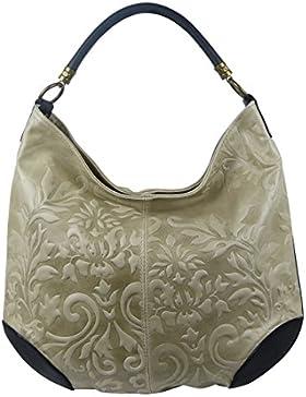 Damen Leder Tasche Henkeltasche Schultertasche mit Kroko Schlangen oder Blumen Prägung