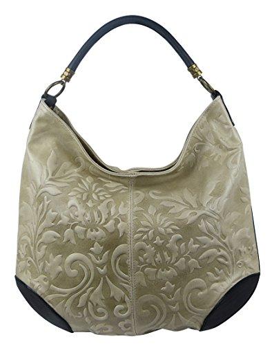 Damen Leder Tasche Henkeltasche Schultertasche mit Kroko Schlangen oder Blumen Prägung (Beige-Blumen)
