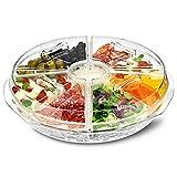 Auf Eis 8Abschnitt Appetizer Tray–Ice Chilled Sharing Platte mit Dip Tasse und Deckel für frische Snacks