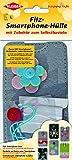 Kleiber 15 x 7.5 cm Filz-Smartphone-Hülle zum Selberbasteln für Kinder, blau/grün und Pinkfarbenfarbene Blumen
