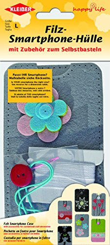 Kleiber 13 x 7 cm Filz-Smartphone-Hülle zum Selberbasteln für Kinder, grau mit bunten Blumen