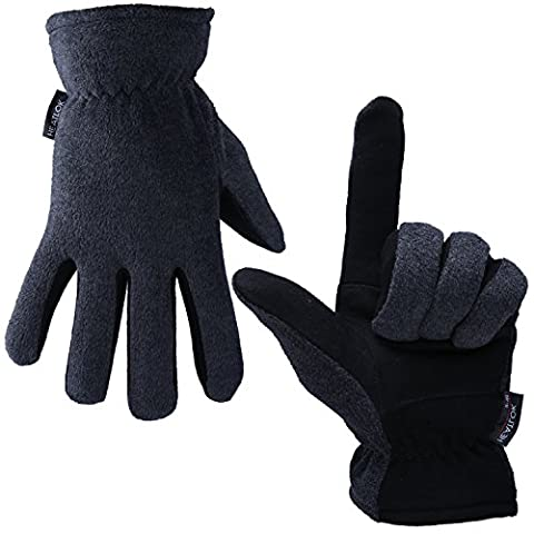 Winter Gloves, OZERO -20ºF Cold Proof Thermal Glove - Genuine Deerskin Suede Leather Palm and Polar Fleece Back with Heatlok Insulated Cotton Layer - Keep Warm in Cold Weather - Gray (Small)