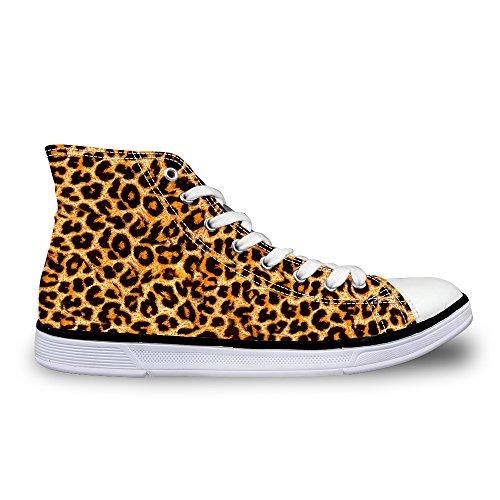 Unisex Damen HerrenSneakers High Basic Canvas Schuhe Leopard Print Braun1 EU 45