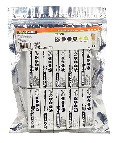 ECOBELLE® 10 x Lampadine LED G9 4W, 400 Lumen, Bianco Caldo 2700K, Dimensioni ridotte: 4.95 cm x 1.55 cm, Lampadina Potente!!!!