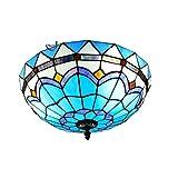 Tiffany-Lampe Deckenleuchte Zeitgenössische Einfach-Stil Schlafzimmerlampe Flurlampe Farbe Glas Lampeschirm Kreative Deckenlampe Innenbeleuchtung Balkonlampe Runde Design Deckenbeleuchtungen Ø40CM E27