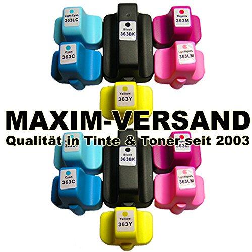 C6100-serie Magenta Toner (12x Tintenpatronen kompatibel zu HP 363 XL Black, Cyan, Yellow, Magenta, Foto-Magenta & Foto-Cyan mit Chip & Füllstandsanzeige (kein Original) für HP Photosmart Serien 3100 3200 3300 8200 C5100 C6100 C6200 C7100 C7200 C8100 D6100 D7100 D7200 D7300 D7400)