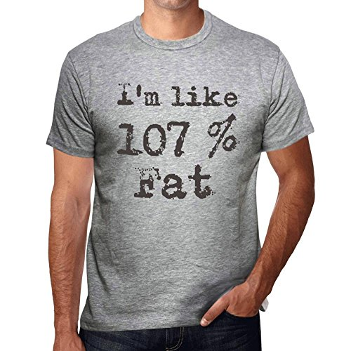 I'm Like 100% Fat, ich bin wie 100% tshirt, lustig und stilvoll tshirt herren, slogan tshirt herren, geschenk tshirt Grau