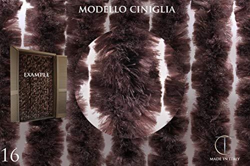 Tenda/Moschiera in Ciniglia Sintetica - Vari Colori (CONSULTARE Immagine con I Vari Colori) - Misura Standard 120X230 - Made in Italy - Asta in PVC