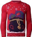 Herren Damen Weihnachtspullover Weihnachten Neuheit Knitwear LED-Leuchten Pullover Threadbare, IMT161-Rot, Klein