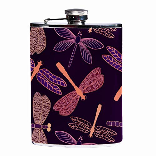Leak Proof Liquor Hip Flask 7.6 oz Flagon Mug Leather Cover with Dragonfly Pattern Design print Pocket Container for Discrete Shot Drinking of Whiskey Alcohol Liquor -