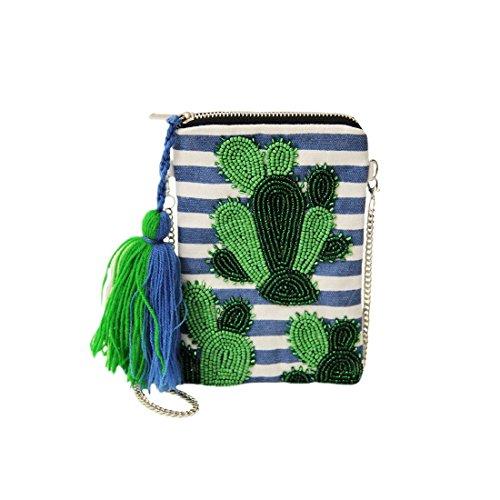 sweet deluxe 06466 Damen Handtasche für jeden Anlass | Handtaschen zum Umhängen | Geschnkidee für Sie Pineapple | Grün / Blau