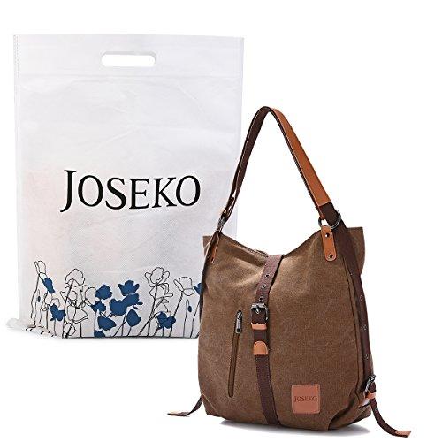JOSEKO Canvas Tasche Damen Rucksack Handtasche Vintage Umhängentasche Segeltuch Hobo Tasche für Alltag Büro Schule Reise Größe L Kaffee (14,17 \'\'x 3,94 \'\'x14,96 \'\')