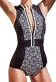 Monokini Mujer Push-up con Cuello en V con relleno Acolchado Traje de Baño de Una Pieza Bikini,Negro,Large