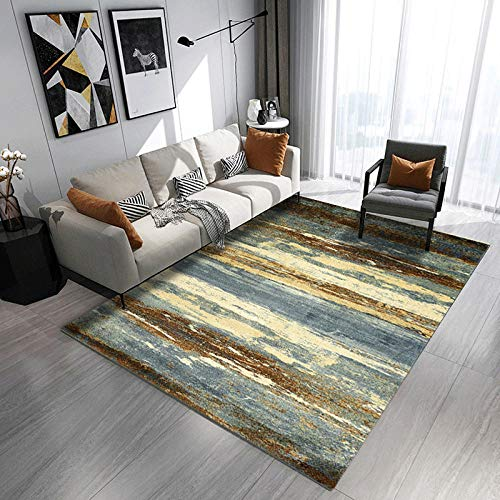 Mengjie Home Teppich Gelb und Blau wandeln Stärke des Himmels 7MM um Waschbarer zeitgenössisches Muster für Wohnzimmer, Schlafzimmer, Kindergarten 160x230CM -