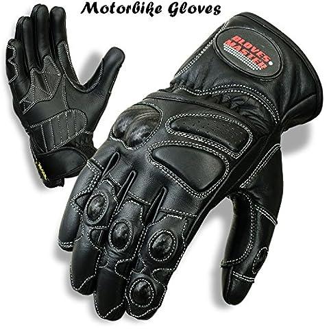 Gants Master Gants de moto en cuir de vache de moto d'hiver Protection Bikers Gants noir Noir X Large- palm size 10-11cm across