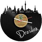 GRAVURZEILE Wanduhr aus Vinyl Schallplattenuhr Skyline Dresden Upcycling Design Uhr Wand-Deko Vintage-Uhr Wand-Dekoration Retro-Uhr Made in Germany