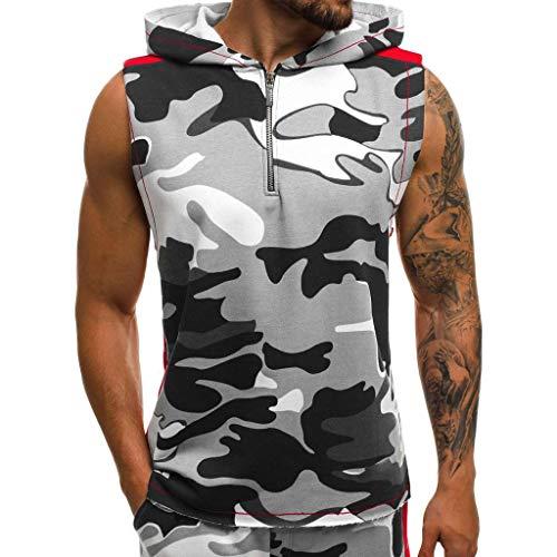 SSUDADY Herren Kapuzenshirt Hoodie Tanktop Tarnung Reißverschluss Ärmelloses T-Shirt Muskelshirt Tank Top Weste Mantel Unterhemd für Gym Fitness Bodybuilding S-2XL (Unterhemd Under Von Armour)
